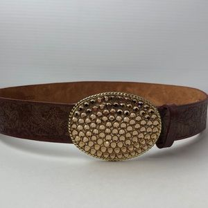 medium Streets Ahead Brown Leather Oval Buckle Belt